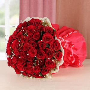 Passion Love 50 Red Roses - Send Flowers to Moradabad Online