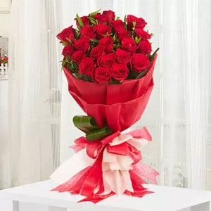 Romantic 20 Red Roses - Online Flowers Delivery In Pinjore