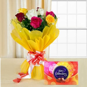 Colorful Celebration - Valentine's Day Flowers and Chocolates