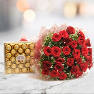 Yummy N Rosy - 30 Red Roses with 24 pc Ferror Rocher - Anniversary Flowers Online