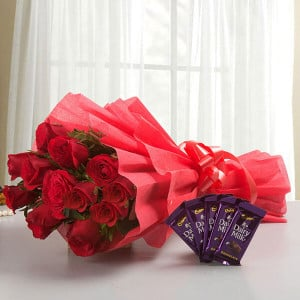 Rosy N Sweet - 12 Red Roses with 5 Chocolates - Wedding Anniversary Bouquet with Cake Delivery