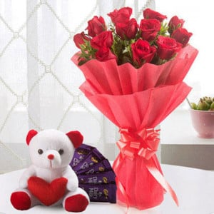 Perfect Love Combo 12 Red Roses 5 Chocolate Teddy - Marriage Anniversary Gifts Online