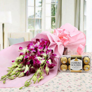 Choco Orchid Delight - Send Flowers and Chocolates Online