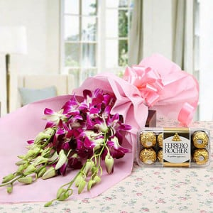 Choco Orchid Delight - Send Valentine Gifts for Her