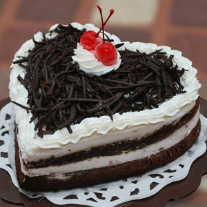 Heart Shape Black Forest Loved Cake - Online Christmas Gifts Flowers Cakes