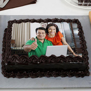 Rich Chocolate Photo Cake - Birthday Cakes for Her