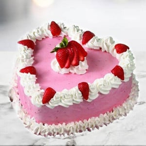 Online Cherry Strawberry Cake (1 Kg) - Send Heart Shaped Cakes Online