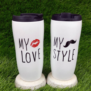 Forever Love Ceramic Mug Sippers Set of Two - Send Gifts to Mohali