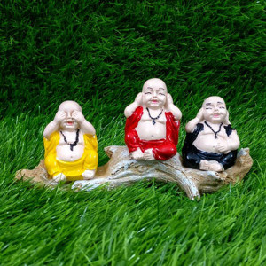 Set of 3 Buddha Monks Sitting on Wooden Log - Pinjore