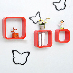 Red Square Wall Shelves - Send Gifts to Mohali