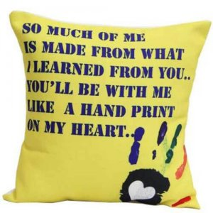 Yellow Printed Cushion - Online Gifts