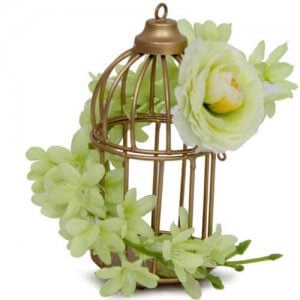 Cage and Flower Arrangement - Artificial Flowers Arrangement Online