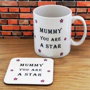 Personalised Mummy Star Mug & Coaster Set - Online Gifts