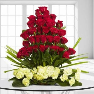 Classic Celebrations 30 Red Roses 20 Yellow Carnations - Send Carnations Flowers Online