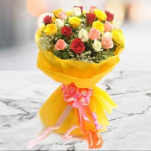 Bright 26 Mix Roses Online - 20th Anniversary Gifts