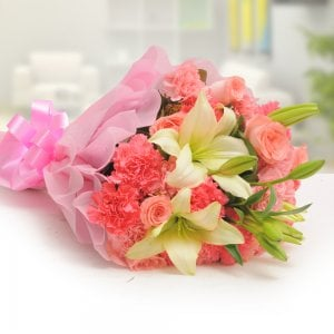 Pink Style Mix Flowers - Online Flower Delivery in Mohali