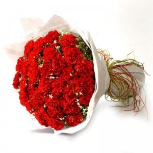 Sweet Flame 40 Red Carnations - Flower Bouquet Online