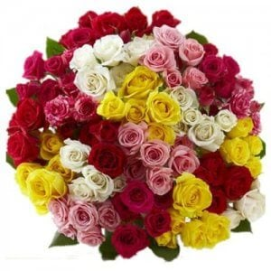 Cloud Nine 100 Mix Roses Online from Way2flowers - Rose Day Gifts Online