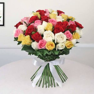 Feeble Appreciation 50 Red Yellow and White Roses Bunch - Send Valentine Gifts for Him Online