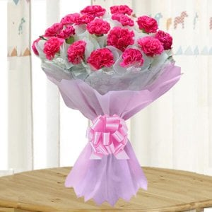 Bright Fervor 20 Pink Carnations - Flower Bouquet Online