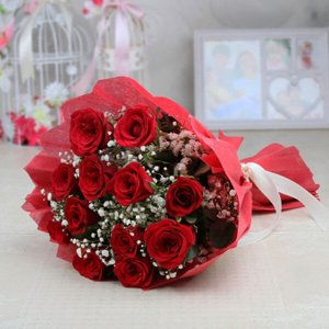 Perfect Love 12 Red Roses - Flower Bouquet Online