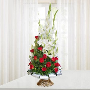 Beauty of Red and White - Online Flower Delivery in Mohali