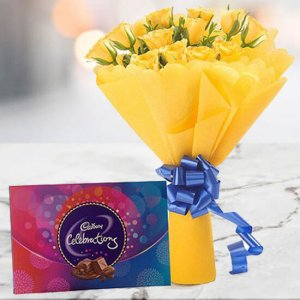 Yellow Roses with Celebration Chocolates - Flowers and Cake Delivery