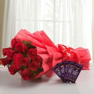 Rosy N Sweet - 12 Red Roses with 5 Chocolates - Online Flower Delivery in Mohali