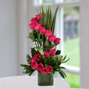 Pink Rose Delight - Glass Vase Arrangements