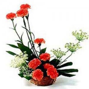 A Basket of Love - Send Carnations Flowers Online