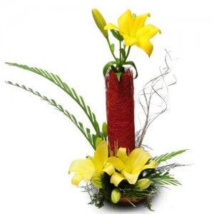 Sunshine 6 Yellow Lilies - Flower Basket Arrangements Online