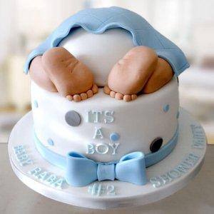 Yellow Baby Bum Baby Shower Cake - Send Baby Shower Cakes Online