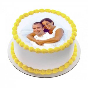 Pineapple Photo Cake 1 Kg - Online Cake Delivery - Send Personalised Photo Cakes Online