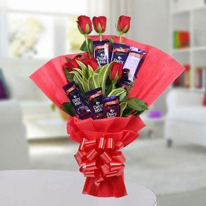 Chocolate Rose Bouquet - Send Lucky Bamboo Plants Online