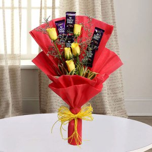 Roses with Cadbury - Online Flower Delivery in Mohali