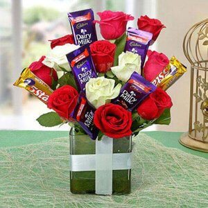 Supreme Choco Flower Arrangement - Glass Vase Arrangements