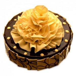 Flower on Chocolate Truffle Cake - Send Chocolate Truffle Cakes Online