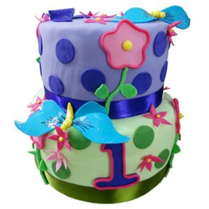 Butterfly And Flower Cake - Birthday Cake Online Delivery