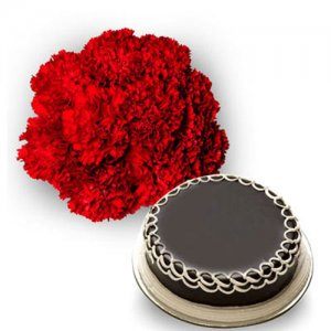 Carnations n Cake - Send Carnations Flowers Online