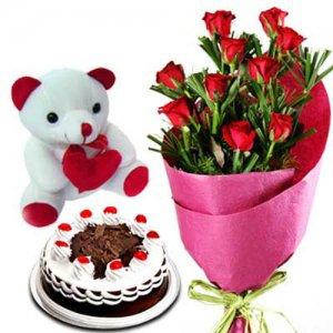 Pure Romance - Online Flower Delivery In India - Wedding Anniversary Bouquet with Cake Delivery