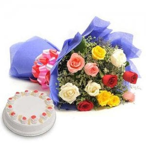 Mix Love - Wedding Anniversary Bouquet with Cake Delivery