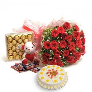 Tower Of Love - Online Flower Delivery In India - Wedding Anniversary Bouquet with Cake Delivery