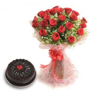 Roses N Chocolaty Love - Birthday Cake and Flowers Delivery