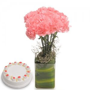 Pink Carnival Flowers - Send Carnations Flowers Online
