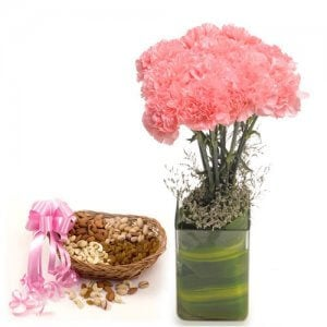 Pink Carnival - Buy Flowers with Dry Fruits Online in India