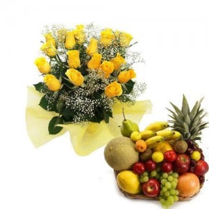 Basket of Wishes - Flowers with fresh fruits online