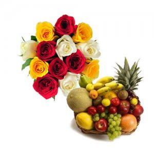 Roses N Fresh Fruits - Flowers with fresh fruits online