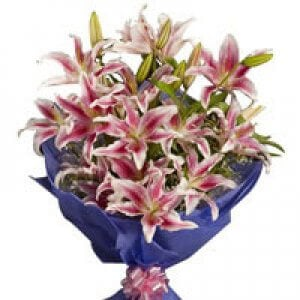 Pink Stargazer Lilies 6 Pink Lilies Online from Way2flowers - Send Anniversary Gifts Online