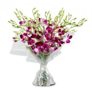 Purple Orchids 10 Orchids Online from Way2flowers - Send Anniversary Gifts Online