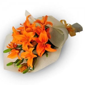 Bright Side Of Life 6 Orange Lilies Online from Way2flowers - Online Flowers Delivery in Panchkula